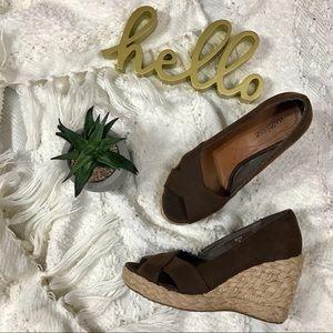 Matisse brown leather espadrille wedge sandals